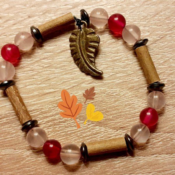 bracelet noisetier, quartz rose et agathe rose